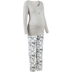 Piżama do karmienia piersią (2 części) bonprix szary z nadrukiem. Piżamy damskie marki MAKE ME BIO. Za 89.99 zł.