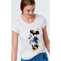 Etam - Top piżamowy Sandy. Szare piżamy damskie Etam, z nadrukiem, z bawełny, z krótkim rękawem. W wyprzedaży za 49.90 zł.