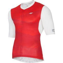 Koszulka rowerowa męska RKM152 - czerwony allover. Czerwone koszulki sportowe męskie 4f, z elastanu. Za 159.99 zł.