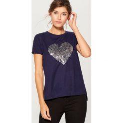 Koszulka z połyskującym nadrukiem - Niebieski. Niebieskie bluzki damskie Mohito, z nadrukiem. Za 69.99 zł.