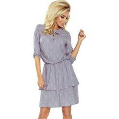 Sukienka z podwójną spódnicą sf-182-2. Szare sukienki damskie SaF, z jeansu, z podwójnym kołnierzykiem. Za 179.90 zł.
