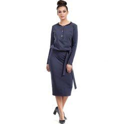 Niebieska Sukienka Midi Zapinana na Napy. Sukienki damskie Molly.pl, z bawełny, z długim rękawem. Za 135.90 zł.
