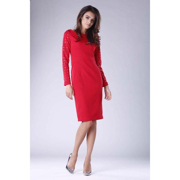 0fbcdb3de3 Czerwona Prosta Midi Sukienka z Dżetami - Czerwone sukienki damskie ...