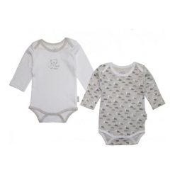 Gelati Body Dziecięce Długi Rękaw Set 2 Szt. 50/56 Biały/Szary. Białe body niemowlęce Gelati, z długim rękawem. Za 65.00 zł.