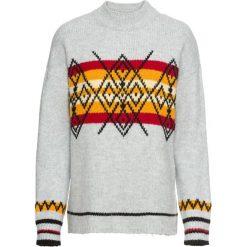 Sweter dzianinowy bonprix jasnoszary wzorzysty. Swetry damskie marki bonprix. Za 119.99 zł.