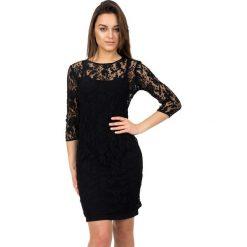 Koronkowa czarna sukienka z rękawem 7/8 BIALCON. Czarne sukienki damskie BIALCON, z dzianiny, wizytowe, na ramiączkach. W wyprzedaży za 99.00 zł.