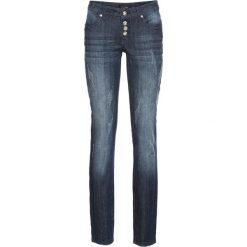"""Dżinsy ze stretchem """"used look"""" bonprix ciemnoniebieski """"stone used"""". Niebieskie jeansy damskie bonprix. Za 124.99 zł."""
