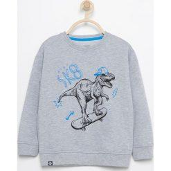Bluza z nadrukiem dinozaura - Jasny szar. Bluzy dla chłopców Reserved, z nadrukiem. W wyprzedaży za 14.99 zł.