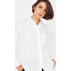 Simple - Koszula. Szare koszule damskie Simple, z tkaniny, casualowe, z klasycznym kołnierzykiem, z długim rękawem. Za 369.90 zł.
