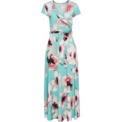 Sukienka z wiązaniem z przodu bonprix miętowy w kwiaty. Zielone sukienki damskie bonprix, na lato, w kwiaty. Za 149.99 zł.