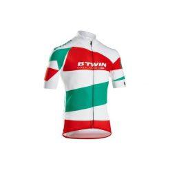 Koszulka krótki rękaw na rower szosowy ROADCYCLING 900 ITALY męska. Białe koszulki sportowe męskie B'TWIN, z elastanu, z krótkim rękawem. W wyprzedaży za 119.99 zł.