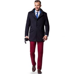 Płaszcz Czarny Alessandro. Czarne płaszcze męskie LANCERTO, z bawełny, klasyczne. W wyprzedaży za 299.90 zł.