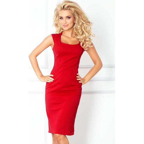 8f2a27f95 Czerwona Ołówkowa Sukienka z Mini Rękawkiem - Sukienki damskie Molly ...