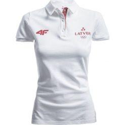 Koszulka polo damska Łotwa Pyeongchang 2018 TSD801 - biały. Białe bluzki damskie 4f, z bawełny, polo. W wyprzedaży za 79.99 zł.