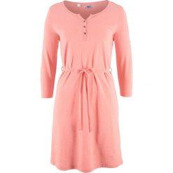 Sukienka bawełniana shirtowa, krótki rękaw bonprix łososiowo-jasnoróżowy. Czerwone sukienki damskie bonprix, z bawełny, z krótkim rękawem. Za 37.99 zł.