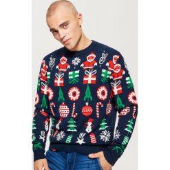 Świąteczny sweter - Granatowy. Niebieskie swetry przez głowę męskie Cropp. Za 99.99 zł.