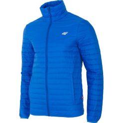 Kurtka puchowa męska KUMP203 - kobalt. Niebieskie kurtki męskie 4f, z materiału. W wyprzedaży za 249.99 zł.