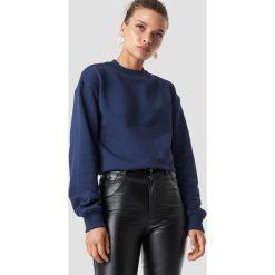 NA-KD Basic Bluza basic - Navy. Niebieskie bluzy damskie NA-KD Basic, prążkowane. Za 100.95 zł.