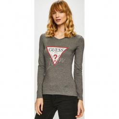 Guess Jeans - Bluzka. Szare bluzki damskie Guess Jeans, z aplikacjami, z bawełny, z okrągłym kołnierzem. Za 169.90 zł.