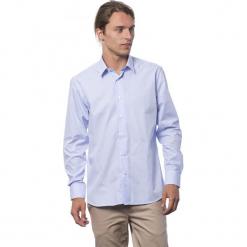 Koszula w kolorze jasnoniebieskim. Niebieskie koszule męskie Roberto Cavalli, Trussardi, w paski, z klasycznym kołnierzykiem. W wyprzedaży za 212.95 zł.