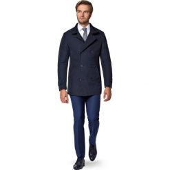 Płaszcz Granatowy Apollos. Niebieskie płaszcze męskie LANCERTO, na zimę, z tkaniny, eleganckie. W wyprzedaży za 499.90 zł.
