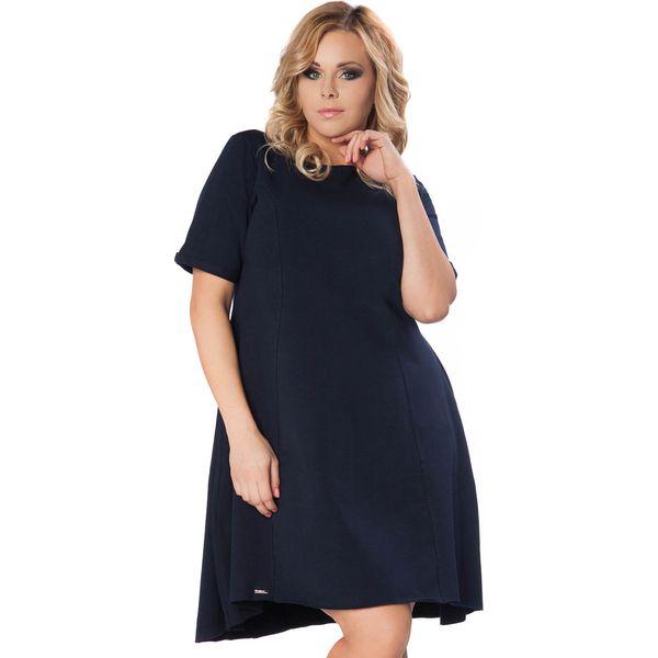 6b35dcfd0f Granatowa Sukienka do Pracy z Wydłużonym Tyłem PLUS SIZE - Sukienki ...