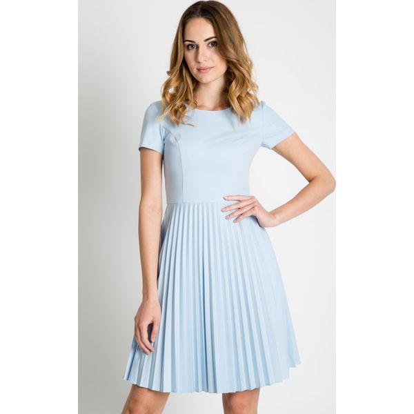 2f01c4facf Błękitna sukienka z plisowanym dołem BIALCON - Sukienki damskie ...