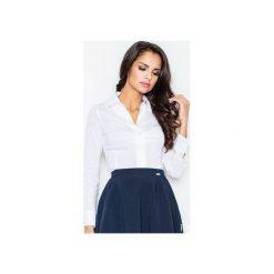 Koszula M021 Biały. Białe koszule damskie Figl, z bawełny, klasyczne, z klasycznym kołnierzykiem, z długim rękawem. Za 73.00 zł.