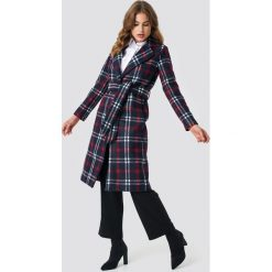 NA-KD Classic Długi płaszcz w kratę - Multicolor,Navy. Niebieskie płaszcze damskie NA-KD Classic, w paski. Za 283.95 zł.