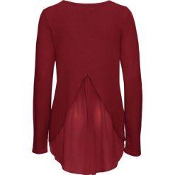 Sweter z szyfonową wstawką bonprix czerwony kasztanowy. Swetry damskie marki bonprix. Za 49.99 zł.