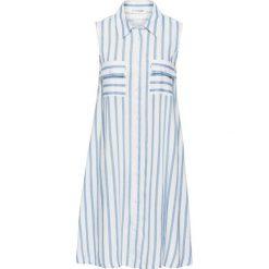 Sukienka bonprix biało-jasnoniebieski w paski. Białe sukienki damskie bonprix, w paski, sportowe. Za 89.99 zł.
