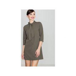 Sukienka K369 Oliwka. Zielone sukienki damskie Lenitif, z tkaniny. Za 149.00 zł.