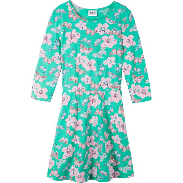 bbebd5e90a Sukienka shirtowa z rękawami 3 4 bonprix zielony morski z nadrukiem ...