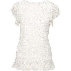 Bluzka z rękawami z falbanami bonprix biel wełny w kwiaty. Białe bluzki damskie bonprix, w kwiaty, z szyfonu, eleganckie. Za 69.99 zł.