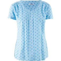 Tunika koszulowa, krótki rękaw bonprix jasnoniebiesko-lazurowy w kropki. Tuniki damskie marki bonprix. Za 37.99 zł.