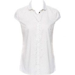 Bluzka z krótkim rękawem, drukowana bonprix biel wełny - czarny w groszki. Białe bluzki damskie bonprix, w grochy, z wełny, z krótkim rękawem. Za 49.99 zł.