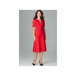 Sukienka K478 Czerwony. Czerwone sukienki damskie Lenitif, dekolt w kształcie v. Za 179.00 zł.