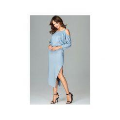 Sukienka K479 Niebieski. Niebieskie sukienki damskie Lenitif, z asymetrycznym kołnierzem. Za 179.00 zł.