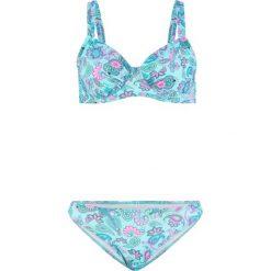 095518a18ffaa1 Bikini na fiszbinach (2 części) bonprix turkusowo-różowy wzorzysty.  Niebieskie bikini damskie