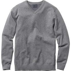 Sweter z dekoltem w serek Regular Fit bonprix szary melanż. Szare swetry przez głowę męskie bonprix, melanż, z dzianiny, z dekoltem w serek. Za 79.99 zł.