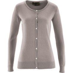 Sweter rozpinany z domieszką jedwabiu bonprix brunatny. Brązowe kardigany damskie bonprix. Za 59.99 zł.