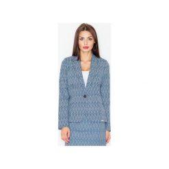 Żakiet M517 Wzór 31. Niebieskie żakiety damskie Figl, w kolorowe wzory, z materiału, eleganckie. Za 149.00 zł.