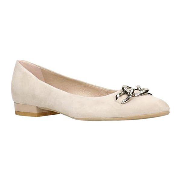 5ed850b7ebf88 Skórzane baleriny w kolorze beżowym - Baleriny damskie marki Gino ...