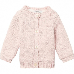 """Kardigan """"Burlington"""" w kolorze jasnoróżowym. Czerwone swetry dla dziewczynek Noppies Baby, ze splotem, z okrągłym kołnierzem. W wyprzedaży za 69.95 zł."""