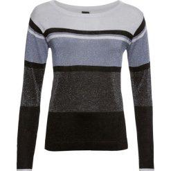 Sweter w paski, z lureksową nitką bonprix czarno-srebrno-szary. Czarne swetry damskie bonprix. Za 69.99 zł.