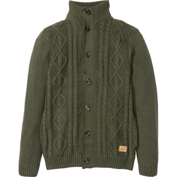 Sweter rozpinany w warkocze bonprix ciemnooliwkowy