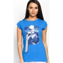 Niebieski T-shirt Added Value. Bluzki damskie Born2be. Za 24.99 zł.