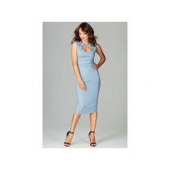 Sukienka K475 Niebieski. Niebieskie sukienki damskie Lenitif, z materiału, klasyczne, bez rękawów. Za 179.00 zł.