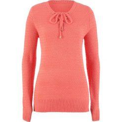 Sweter ze sznurowaniem bonprix mandarynka. Brązowe swetry damskie bonprix, ze sznurowanym dekoltem. Za 89.99 zł.