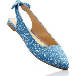 Baleriny z paskiem na pięcie bonprix niebieski dżins - piaskowy w kwiatową łączkę. Baleriny damskie marki NEWFEEL. Za 54.99 zł.